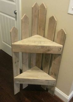 Wood fence shelf would make a sweet bedside table for a child's room