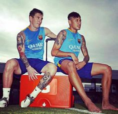 Messi and Neymar - First training session of the new season