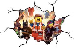 Lego-Movie-CRACKED-WALL-Or-WINDOW-EFFECT-Decal-Sticker-Decor-Art-Mural-Wallpaper