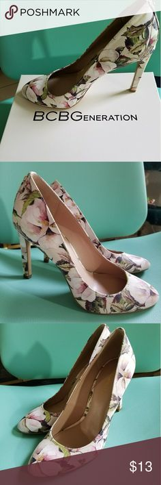 BCBG floral print high heels Only worn twice these BCBG floral pumps are super cute!  They do have a few scuff marks on bottom of shoes but new like condition besides that. BCBGeneration Shoes Heels