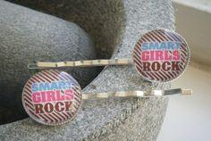 SMART GIRLS ROCK silverplated bobby pin hair slides £4.00