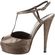Pre-owned Giuseppe Zanotti Metallic Platform Sandals ($125) ❤ liked on Polyvore featuring shoes, sandals, ankle tie sandals, leather buckle sandals, t strap sandals, platform shoes and giuseppe zanotti sandals