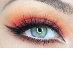 Eye makeup for blue eyes  Love this! Any excuse for red or hot pink I'm all over it! Looks gorgeous