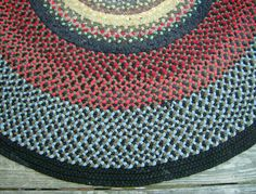 Vintage Wool Braided Rag Rug Handmade Amish Pennsylvania 34x45 Rugs And