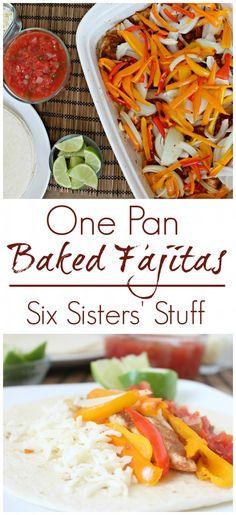 One Pan Baked Fajitas from Sixsistersstuff.com