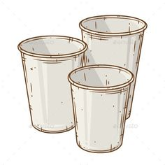 Set of Paper Coffee Cups Over White Background
