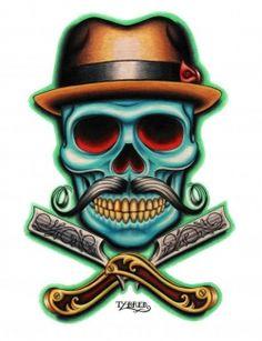 barber skull, I really like this!!!!! #tattoo #thinking