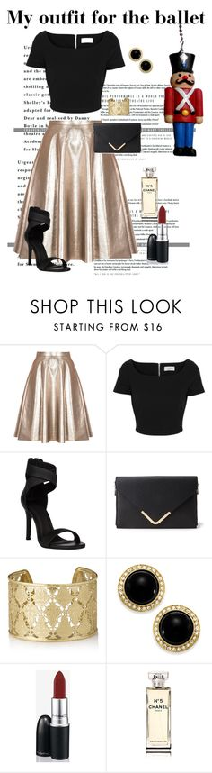 """""""This easy outfit for the Queensland's Ballet's Nutcracker"""" by maddy0428 on Polyvore featuring MSGM, Preen, Forever 21, Shyla, Carolee, MAC Cosmetics and Chanel"""