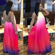 Summer Gradient Ramp Halter Long Dress Women Sleeveless Backless Full Dress Ladies Hollow Out Dress Size S Color Blue Ombre Maxi Dress, Halter Maxi Dresses, Ruched Dress, Evening Gowns Uk, Fashion Wear, Fashion Dresses, Fashion 2018 Trends, Cheap Boutique Clothing, Beautiful Gowns