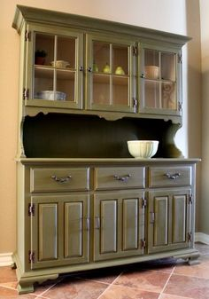 versatile maple china hutch painted with olive chalk paint. Interior Design Ideas. Home Design Ideas