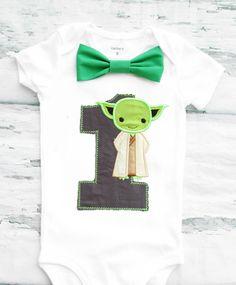 Baby Boy First Birthday Baby Yoda themed first birthday bow tie suspender set Boy one year cake smash Starwars themed first Star Wars Yoda by LoveAndLollipopsBaby on Etsy
