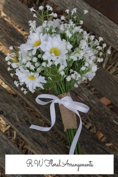 Daisy's and Baby's Breath Wild Flower Artificial Bouquet - Modern Prom Flowers, Bridesmaid Flowers, Bridal Flowers, Daisy Bouquet Wedding, Prom Bouquet, Daisies Bouquet, Yellow Bouquets, Baby's Breath, Marie