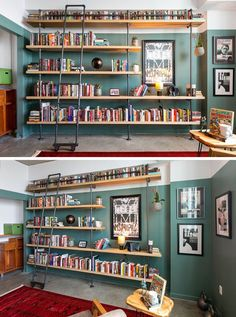 Before & After – An Empty White Room Is Transformed Into A Home Library Francis Dominguez has transformed a spare empty bedroom into a library that features wood shelves, a metal ladder, and a reading area. Home Library Rooms, Home Library Design, Home Libraries, Library Bedroom, Library Shelves, Wall Bookshelves, Bookshelf Design, Library Ladder, Bookshelf Decorating