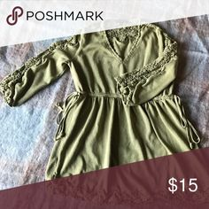 A Pea in the Pod Maternity Shirt Beautiful Maternity shirt. 3/4 sleeves. Lovely lace detail on sleeves and in bottom of top. Ties in side for extra fitted and flattering look. Very gently worn. In great condition. A Pea in the Pod Tops