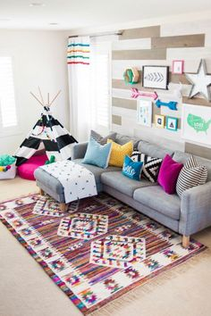 A Modern Take On A Colorful Playroom #homedecorforlivingroom Living Room  Playroom, Playroom Wall Decor