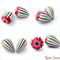 Stripy drop beads by Sigaliot Designs, via Flickr