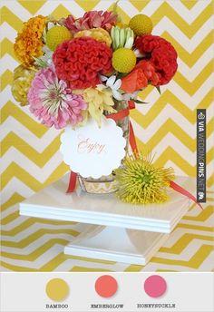 yellow and pink wedding flowers | VIA #WEDDINGPINS.NET