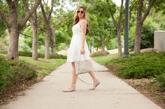 White eyelet dress... Details at TheCashmereGypsy.com