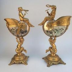 Pair of 19 th century gold gilt Nautilus shell