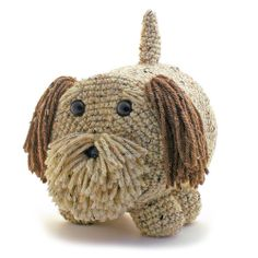 """""""Maggie Dog"""" Amigurumi Toilet Paper Cover ♦ Pattern in """"Amigurumi Toilet Paper Covers: Cute Crocheted Animals, Flowers, Food, Holiday Decor and More"""" by Linda Wright. http://amazon.com/dp/0980092361/"""