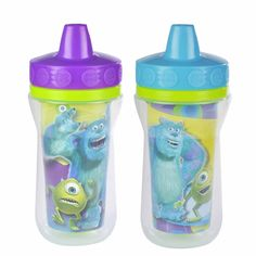 MONSTERS, INC. 2-Pack Insulated Spill-Proof Sippy Cups with One Piece Lid from The First Years