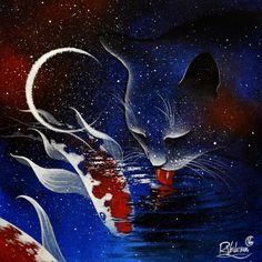 diy diamond painting cross stitch kits embroidery diamond rhinestone mosaic paintings home decor cat eat fish Galaxy Cat, Cat Drinking, Drinking Water, Art Original, Space Cat, Contemporary Artwork, Pretty Cats, Cat Art, Cosmos