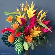 Crepe Paper Heliconia Flowers