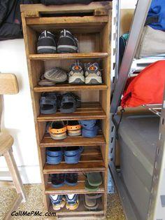 diy shoe rack from scrap wood turn shoes sideways to make the depth more narrow