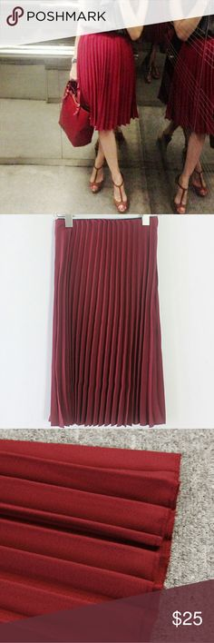 Burgundy Pleated Midi Skirt Chiffon pleated midi skirt features hidden elastic waistband, side zipper, medium weight cotton material. Perfect for any season. Bright burgundy/red color. Wild Bella Skirts Midi