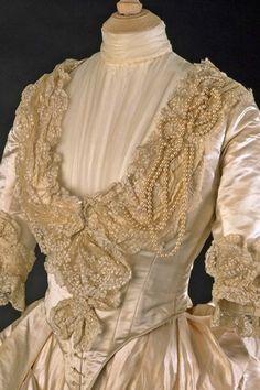 Beautiful detail of the May Primrose wedding dress. 1885.