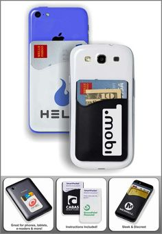 Cell phone holder.  User these to store you're credit card,  business cards and other cards on the beach of you're smart phone.  Checkout this ands other products checkout www.promohubusa.com