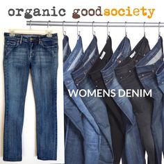 "goodsocieity Organic Denim Jeans Super cute blue jeans done in Certified Organic Cotton with 2% Lycra for a super soft & comfortable fit. Tag size 27 but they run small fit more like 0/25/26. Laying flat measures about 15"" across waste with 31"" straight leg inseam. These will be your new favorites. EC  goodsociety.org goodsociety Jeans Straight Leg"