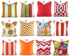 Outdoor/Indoor Pillow Covers ANY SIZE You Choose by MyPillowStudio
