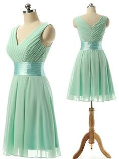 Vintage V-neck Chiffon Knee-length Sashes / Ribbons Bridesmaid Dresses - dressesofgirl.com
