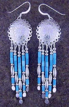 Denim Lapis Silver Concho Hook Dangle Earrings