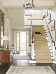 white baluster with dark stained handrail (matches floor) + sisal runner (needs twill binding)