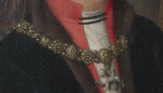 Edward IV's livery collar, as shown on Hasting's brother-in-law, Sir John Donne, in the Donne Triptych  (~1478) by Hans Memling at the National Gallery.