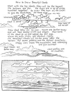 How to Draw Worksheets for The Young Artist: How To Draw Beautiful Clouds Worksheet.