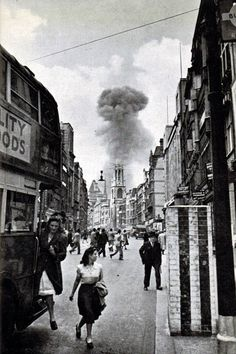 flying bomb lands in a street off Drury Lane, London The bombers of the Blitz came at night, but the drones struck randomly in daylight London History, British History, World History, World War Ii, Old Pictures, Old Photos, Battle Of Britain, Vintage London, Historical Pictures