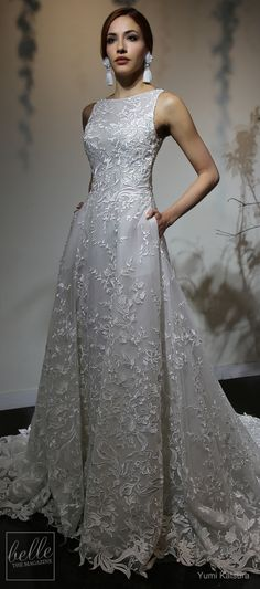 """Strapless Wedding Dresses Yumi Katsura Wedding Dress Collection Spring 2019 - With her Spring 2019 designer, Yumi Katsura is saying """"I do"""" to beautiful floral inspired bridal gowns that whisper enchantment and celebrates romance. Wedding Gown A Line, A Line Bridal Gowns, Wedding Dress With Veil, Modest Wedding Dresses, Elegant Wedding Dress, Bridal Lace, Bridal Dresses, Wedding Ceremony, Lace Wedding"""
