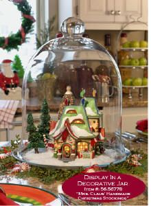 Christmas Village under glass cloche