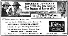 THE TREASURE OF PANCHO VILLA (1955) - RKO Premiere sponsored by Kruger's Jewelers - Worth Theatre - Fort Worth, Texas - Special Live Appearances by Rory Calhoun, Shelley Winters & Gilbert Roland - Newspaper Ad.