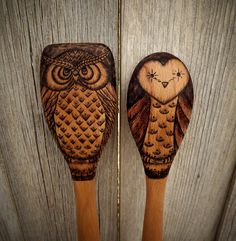 Wood burned Owl spoons (set of 2) by littlesisterscrafts on Etsy https://www.etsy.com/listing/161763243/wood-burned-owl-spoons-set-of-2