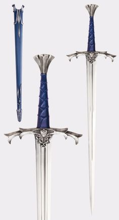 A gift from the Lady of the Lake! The sword of the Legendary Arthur Pendragon, Excalibur, is brought. The Sword, Great Sword, Fantasy Sword, Fantasy Weapons, Swords And Daggers, Knives And Swords, Sword Drawing, Armas Ninja, Sword Tattoo