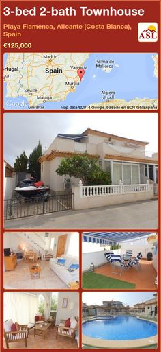 3-bed 2-bath Townhouse in Playa Flamenca, Alicante (Costa Blanca), Spain ►€125,000 #PropertyForSaleInSpain