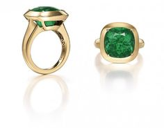 A cushion-shaped emerald ring designed by Angelina Jolie along with Robert Procop Le Jolie, Angelina Jolie, Emerald Ring Design, Jewelry Rings, Fine Jewelry, Jewellery, Halo Rings, Rocks And Minerals, Ring Designs