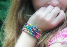 Love the colors in this Ecuador-Inspired Fiesta Bead Bracelet.