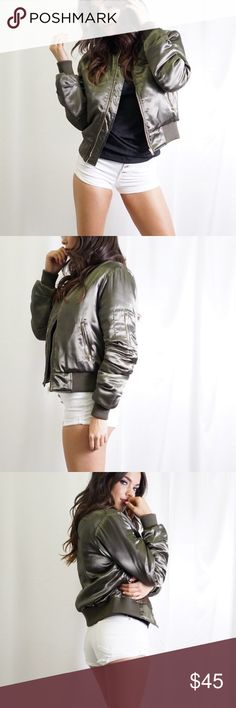 Olive Bomber Jacket💚 Satin Bomber Jacket! 100% polyester. Multiple sizes available! Tea n Cup Jackets & Coats Puffers