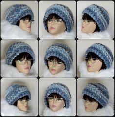 Купить Шапка вязаная зимняя, вязаная женская шапка, теплая шапка - голубой