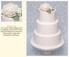 Vintage Lace Wedding Cake with Sugar David Austin Rose and Snowberries